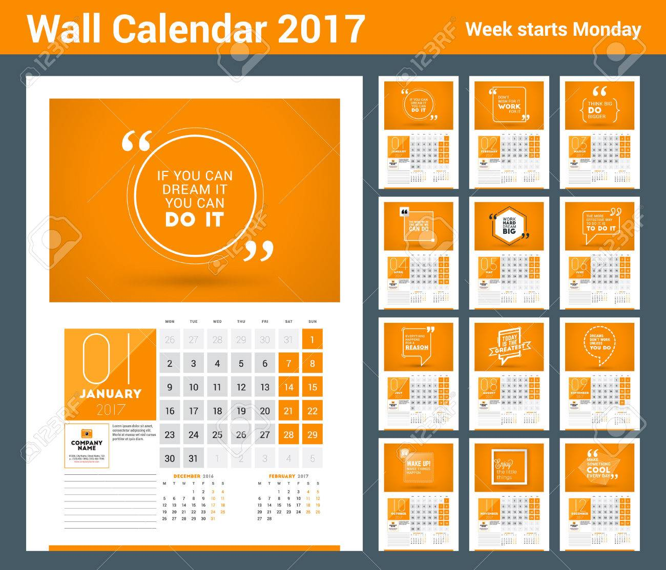 Wall Calendar Planner Print Template For 2017 Year. Calendar Poster With  Motivational Quote. 3