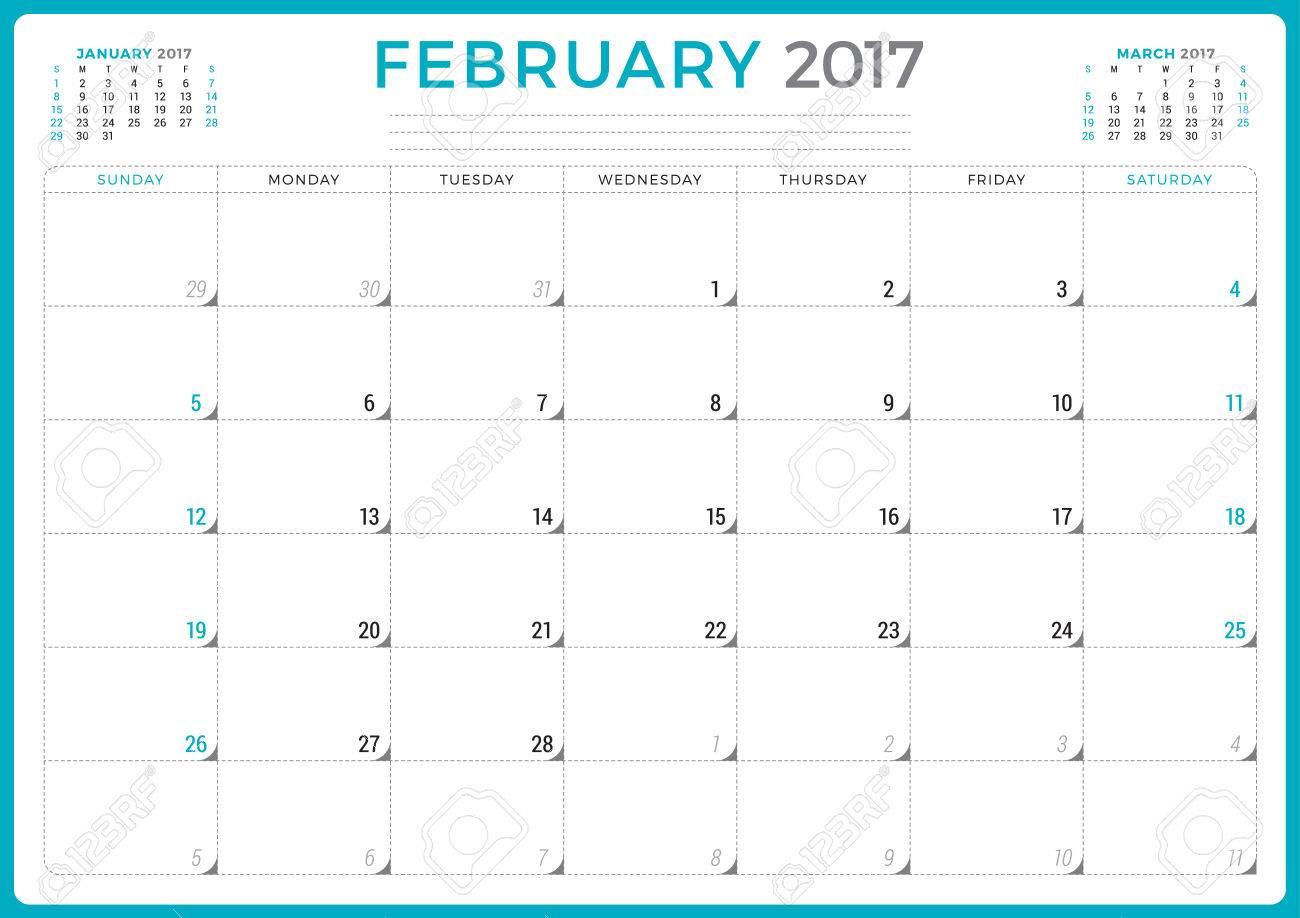 calendar planner for 2017 year vector design template february
