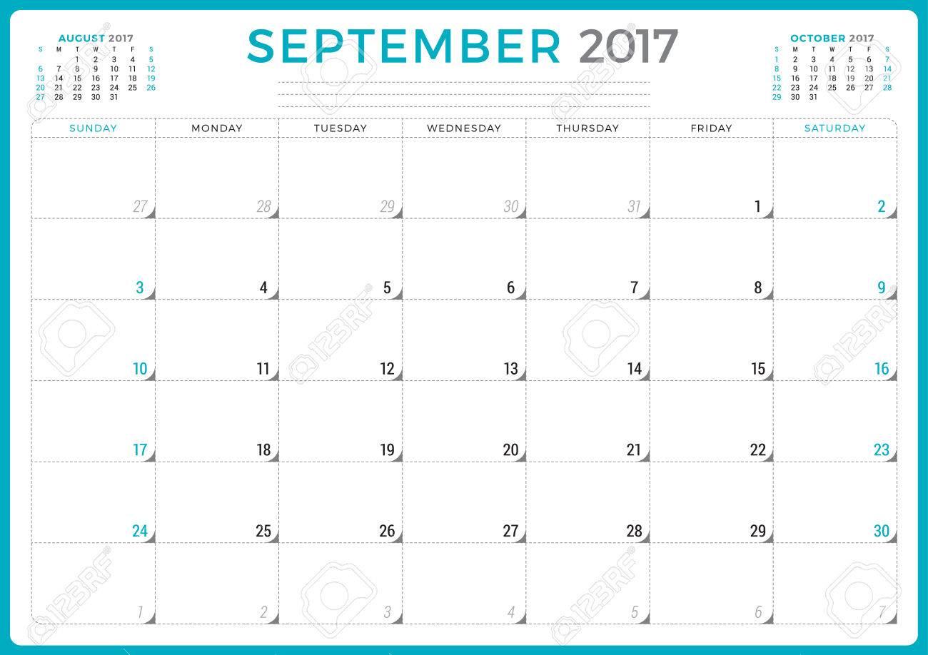 calendar planner for 2017 year vector design template september