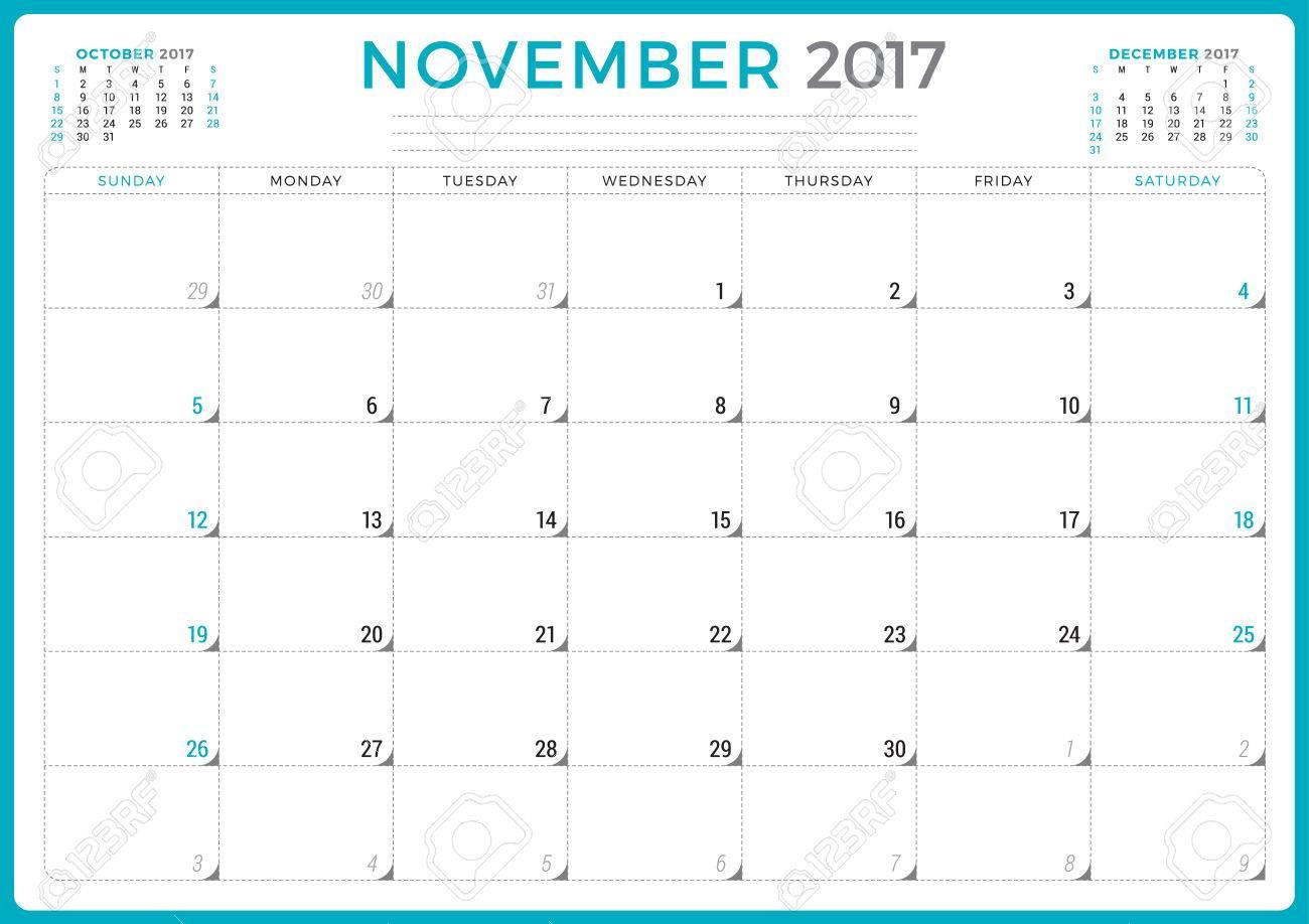 Kalender-Planer Für 2017 Jahr. Vektor-Design-Vorlage. November ...