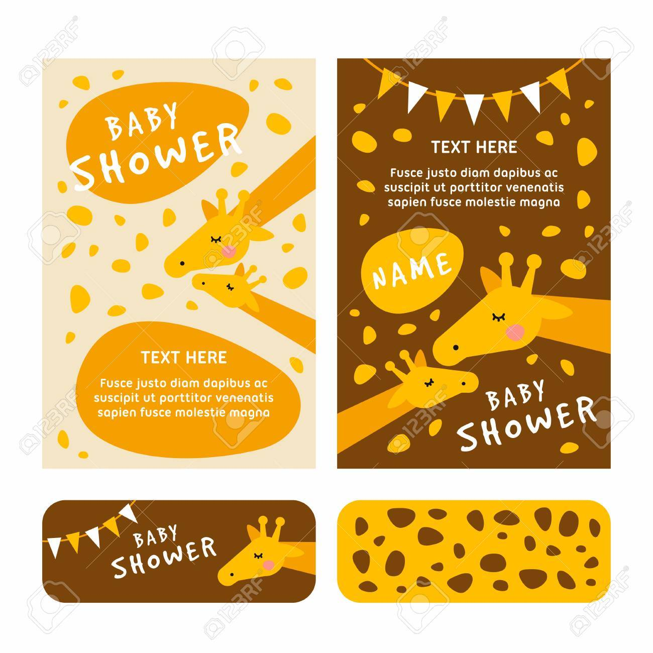 Baby Shower Invitation Card Template Giraffee Brown And Yellow
