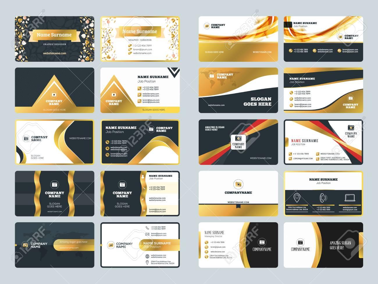 set of creative golden business card design templates vector