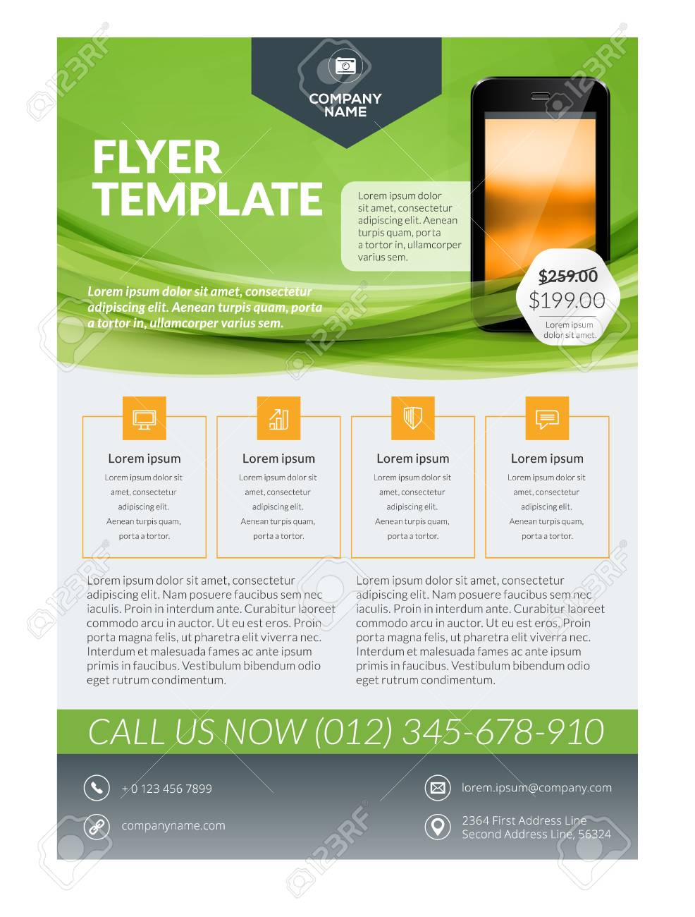 vector business flyer design template for mobile application