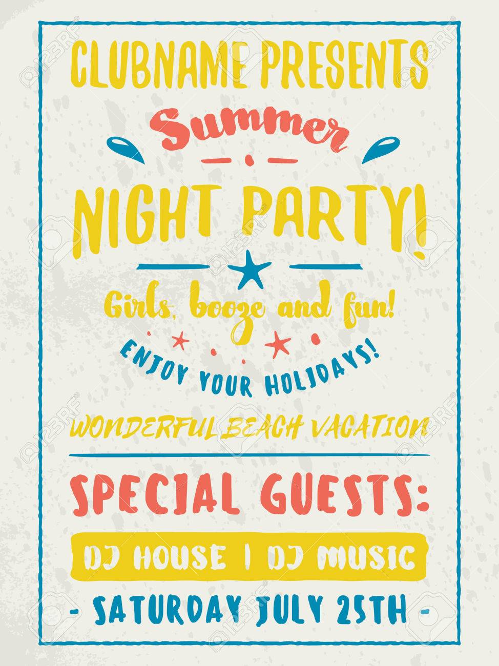 beach party flyer or poster night club event summer night party vector flyer