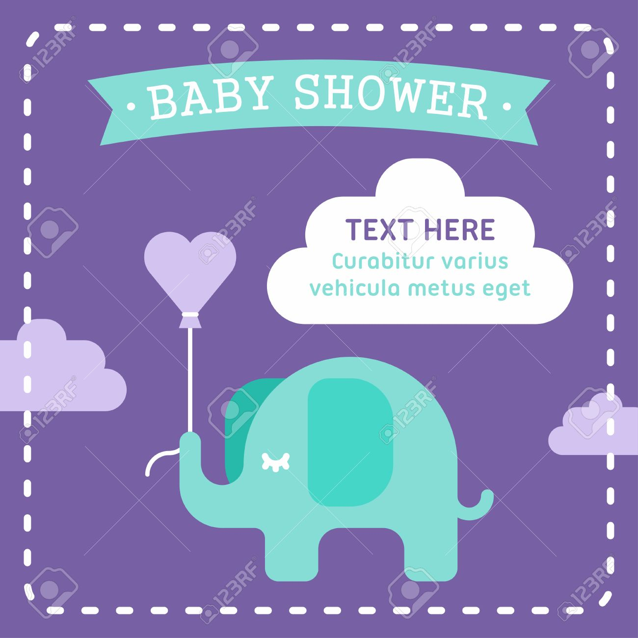 Baby Shower Invitation Template With An Elephant Clouds Heart