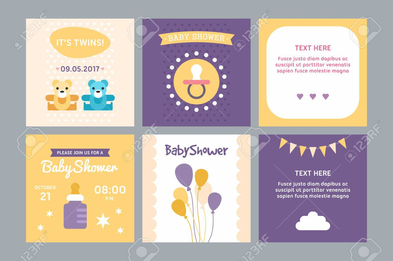 A Set Of Templates For Baby Shower Invitation And Post Card ...
