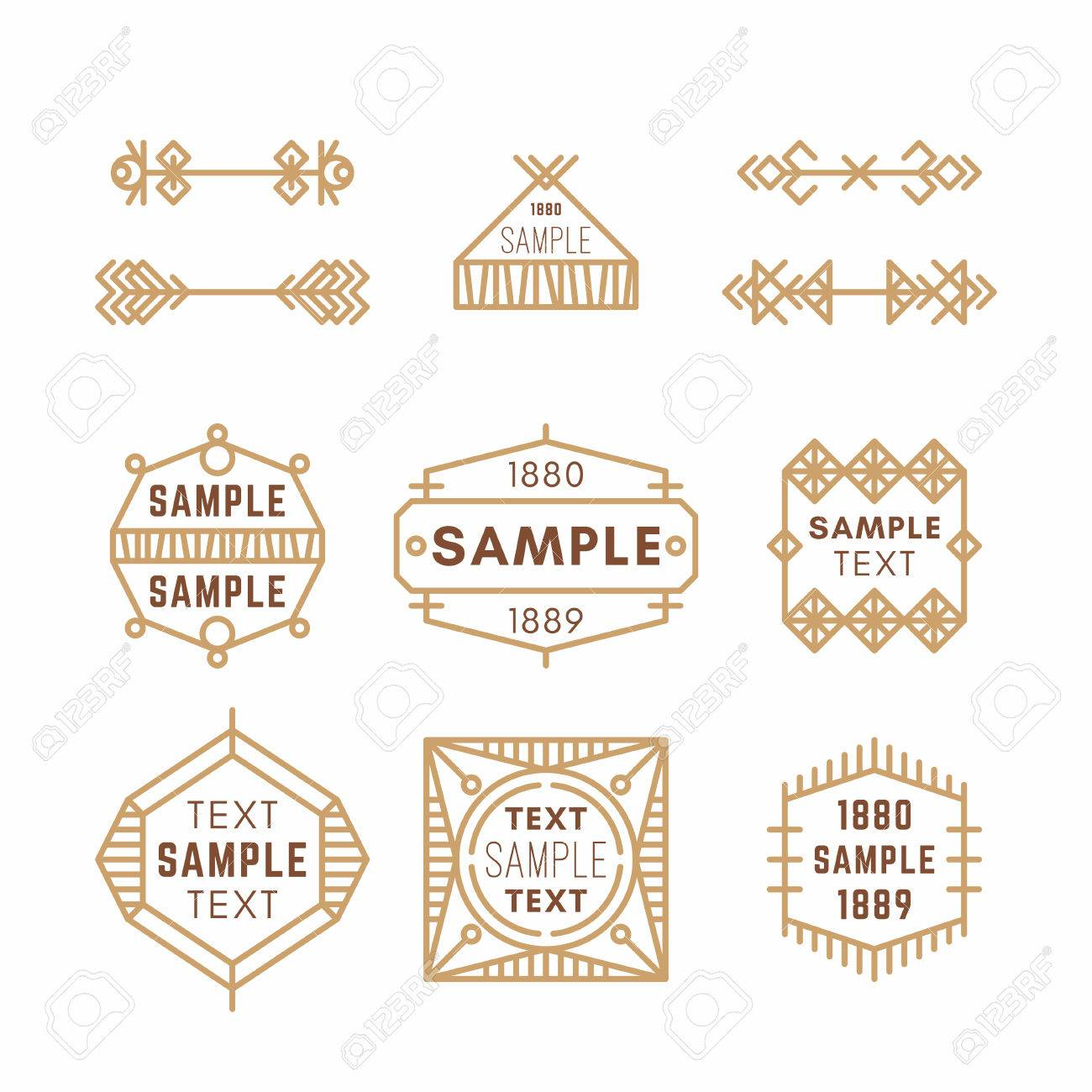 Brown Decorative Line Wiring Diagrams Electronic Circuit Board Stock Photos Image 19113403 Set Of Art Geometric Vector Frames And Borders Rh 123rf Com Yellow