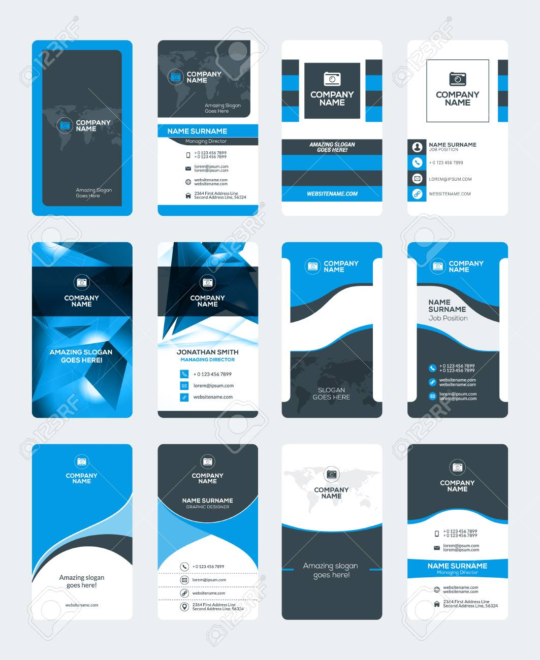 Set of modern creative business card templates blue and black set of modern creative business card templates blue and black colors vertical business cards reheart Gallery