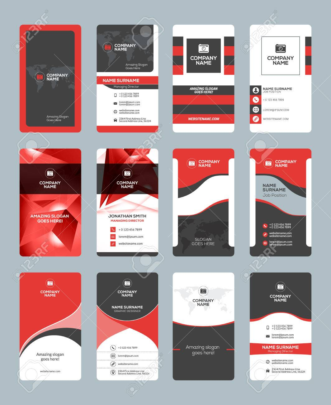 Business Card Templates Stationery Design Vector Set Red And Black