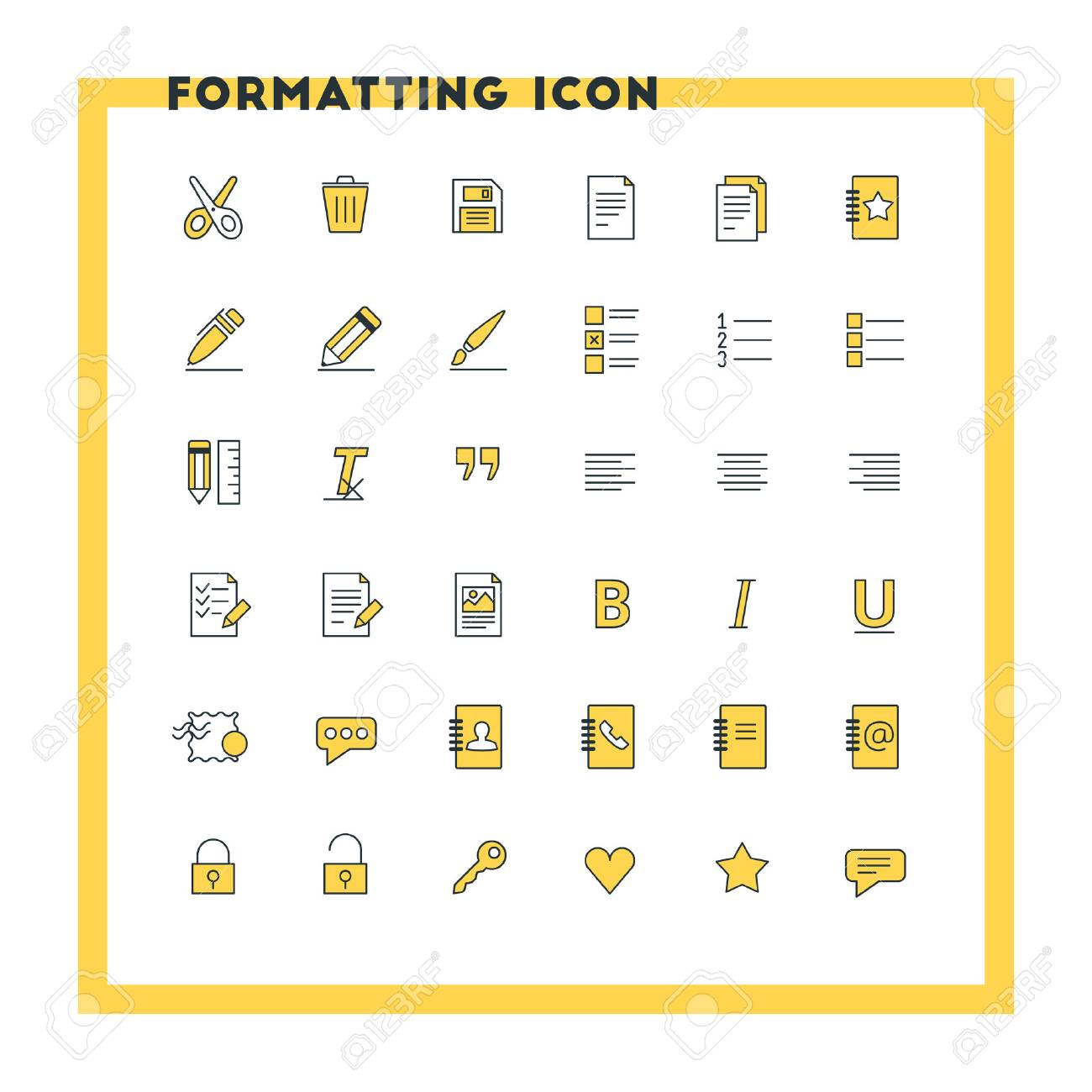 text formatting flat design icon set document pen alignment