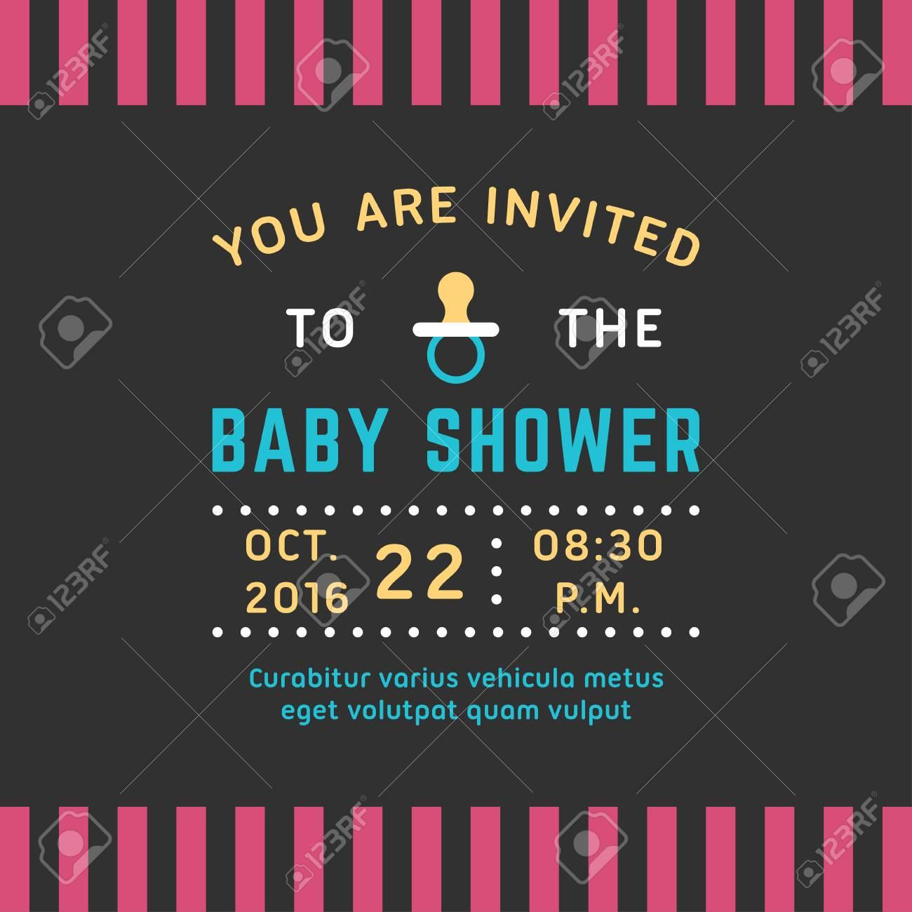 Einladung Für Baby-Dusche-Vorlage. Farbige Flache Vektor-Abbildung ...