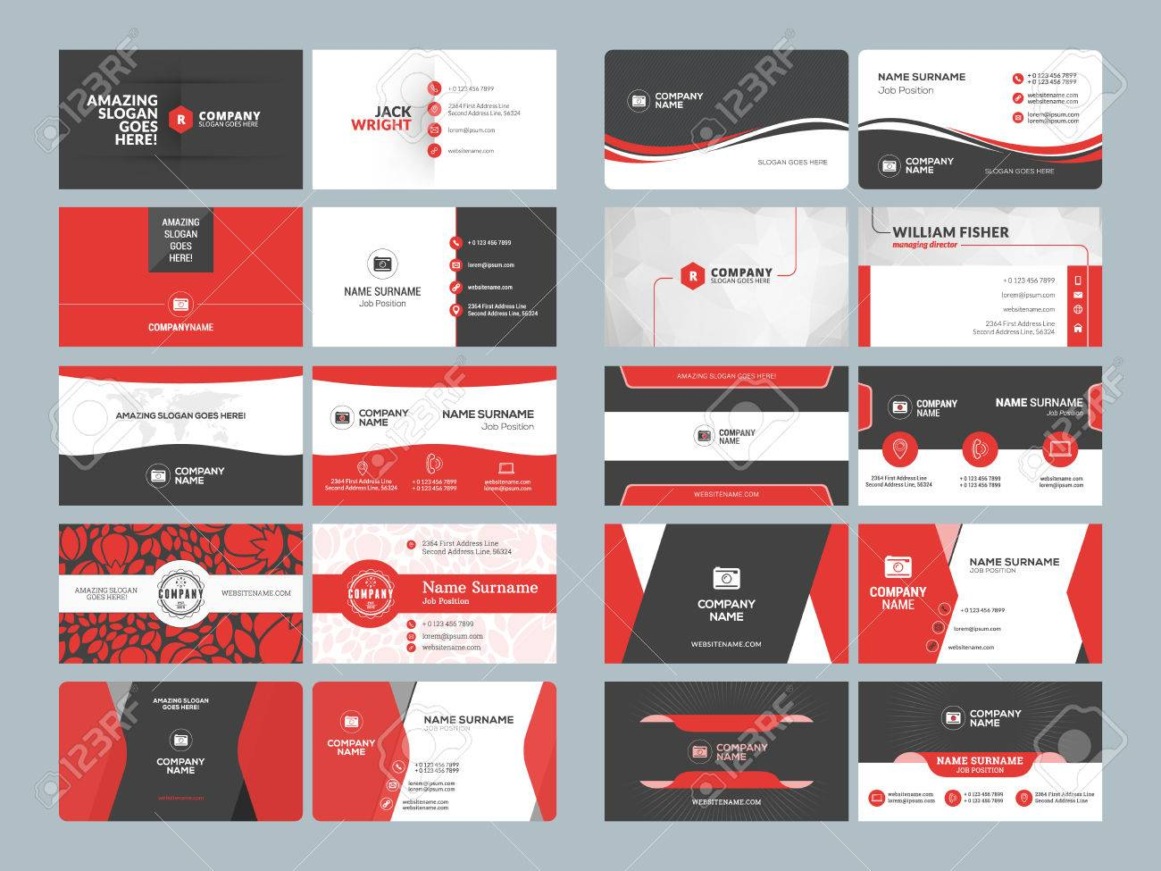 Business card templates. Stationery design vector set. Red and black colors. Flat style vector illustration - 61189915