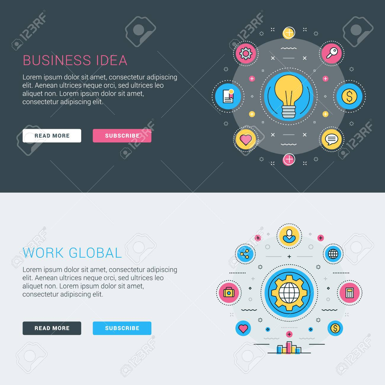 Set Of Flat Line Business Website Banner Templates Vector