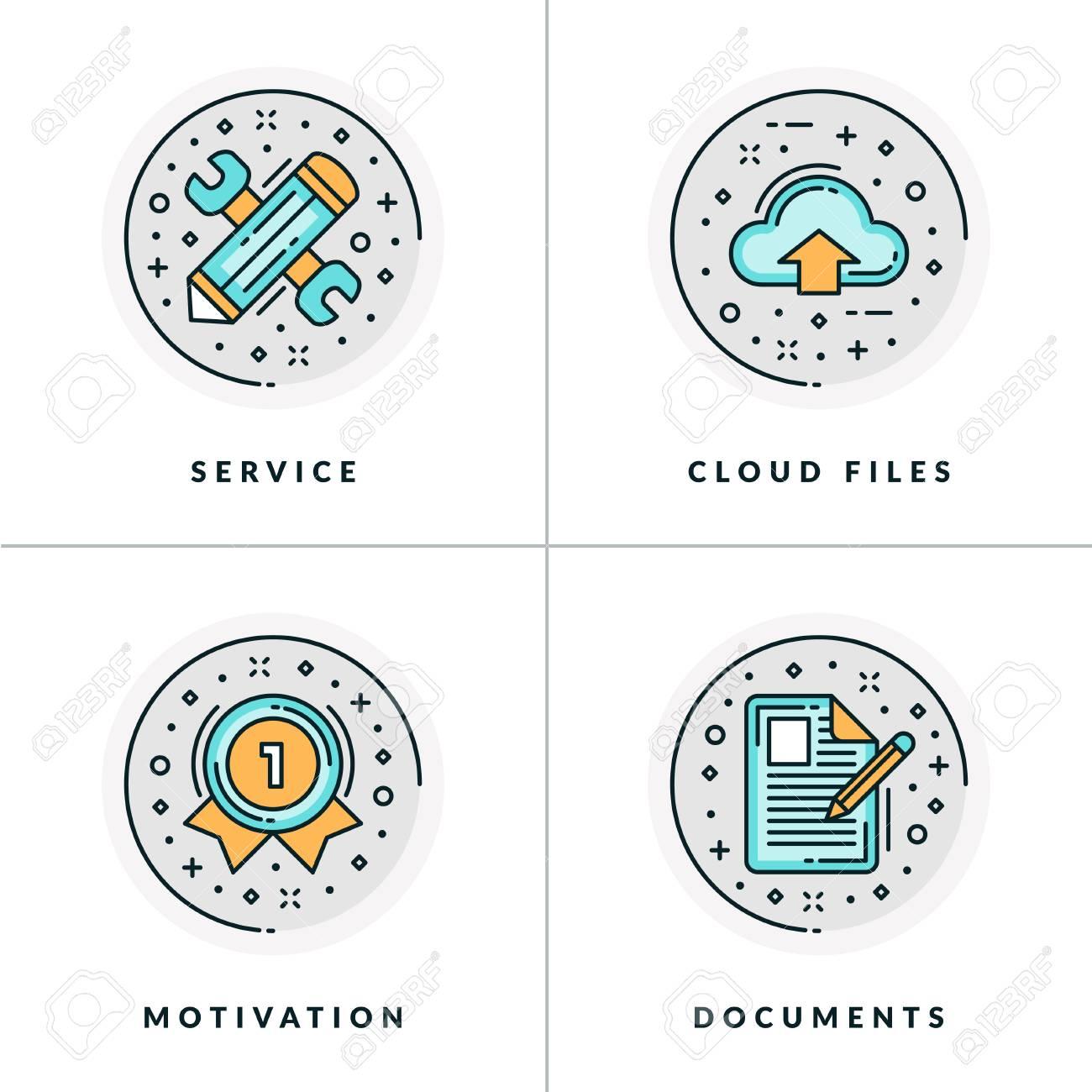 Negócios E Trabalho Conjunto De Quatro ícones No Serviço Arquivos Em Nuvem Motivação E Documentos Colorido Em Ilustrações Vetoriais Planas Cinza
