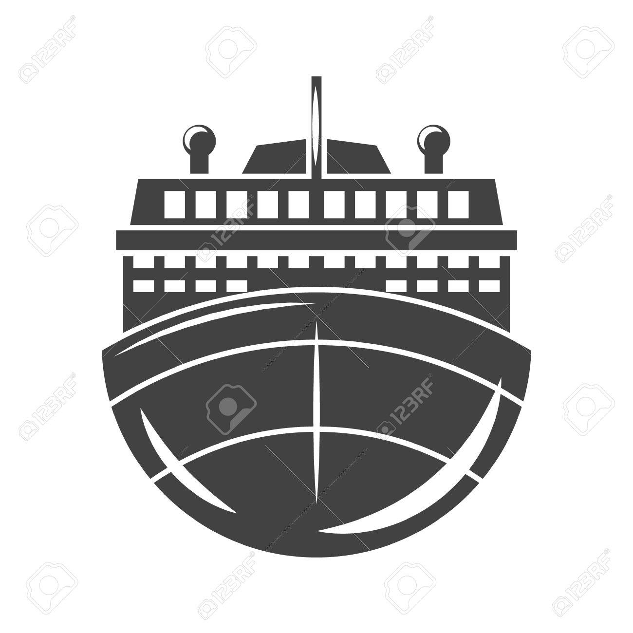 Ship Cruise Liner Front View Black Icon Logo Element