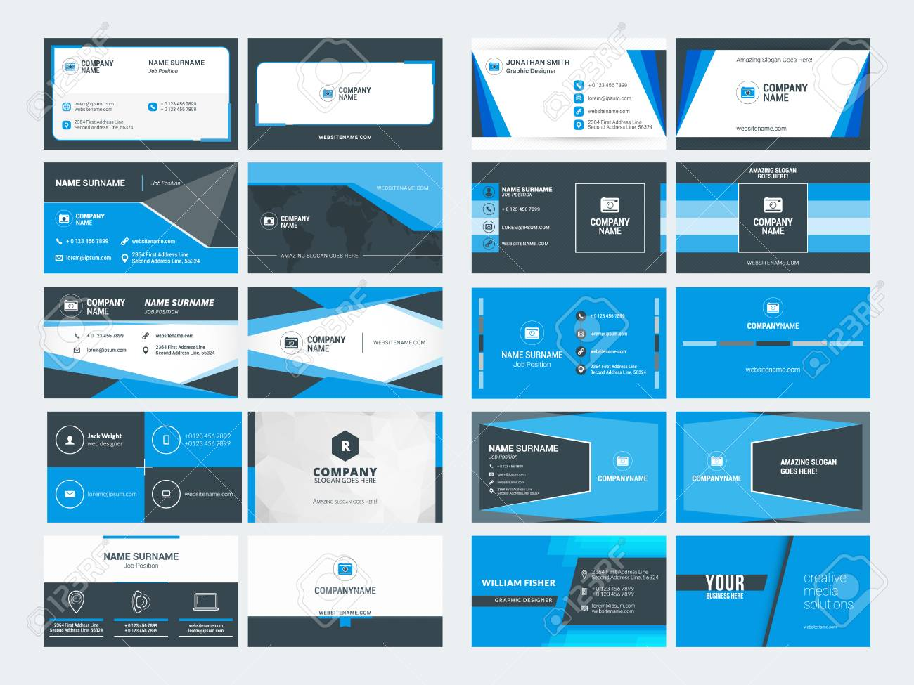 Set of modern creative business card templates blue and black set of modern creative business card templates blue and black colors flat style vector reheart Choice Image