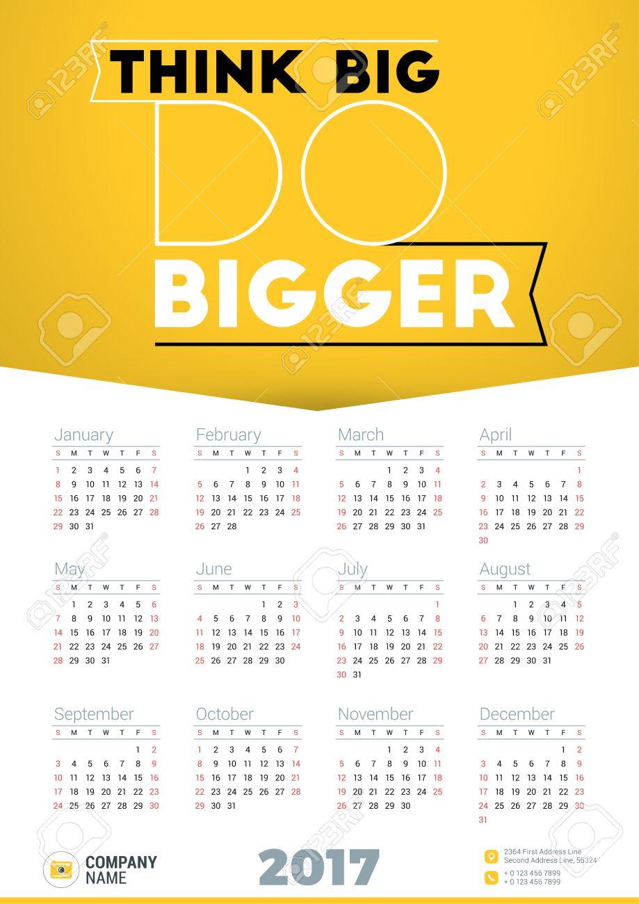 Wall Calendar Poster For 2017 Year. Vector Design Print Template ...