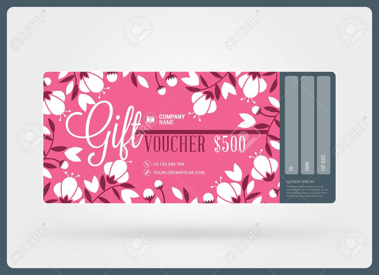Gift voucher vector design template discount card gift gift voucher vector design template discount card gift certificate pink color theme yadclub Gallery