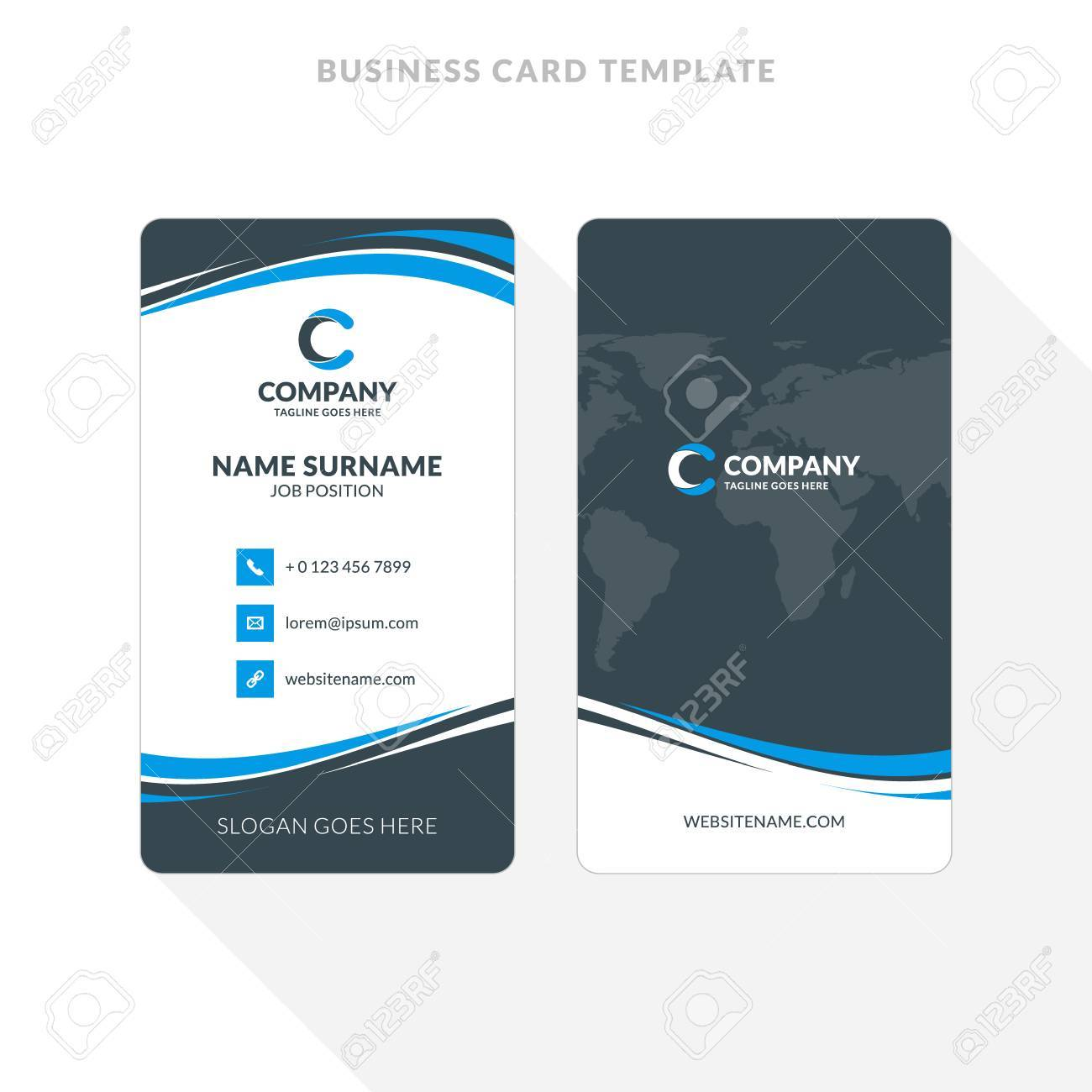 Vertical double sided business card template blue and black vector vertical double sided business card template blue and black colors flat design vector illustration stationery design accmission Choice Image
