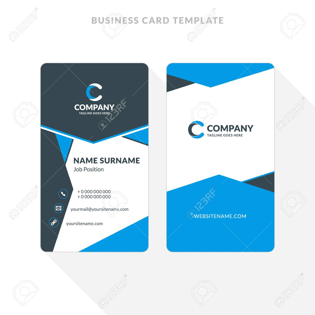 Vertical Double-sided Business Card Template. Blue And Black ...