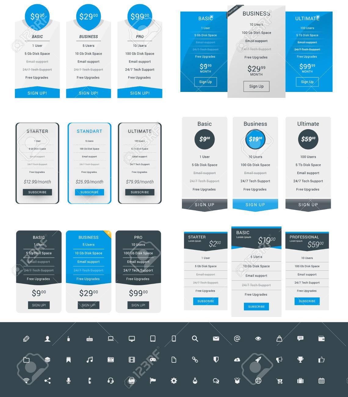 Set Preistabelle Design-Vorlagen Für Webseiten Und Anwendungen ...