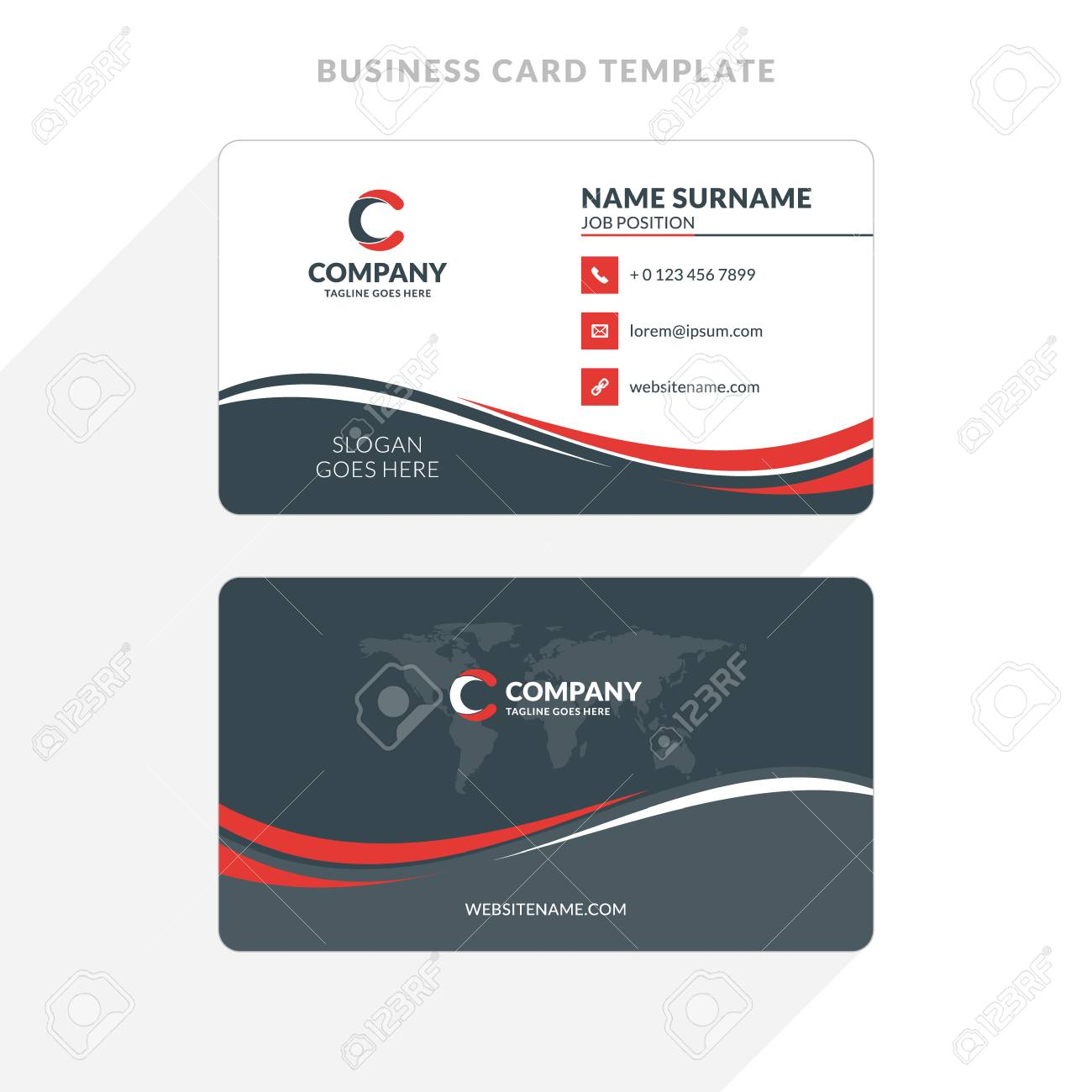 Creative And Clean Double-sided Business Card Template. Red And ...