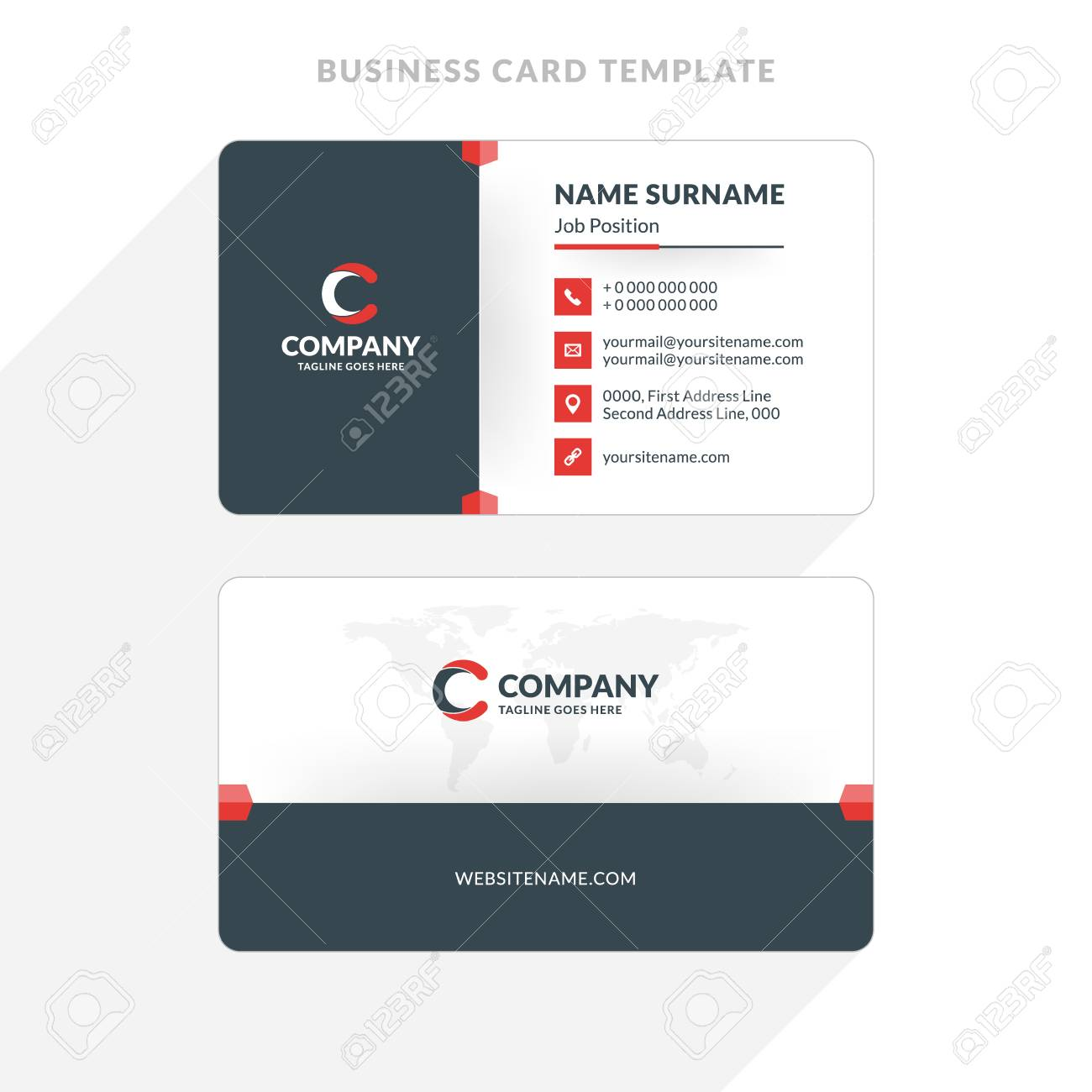 Creative and clean double sided business card template red and creative and clean double sided business card template red and black colors flat flashek Gallery
