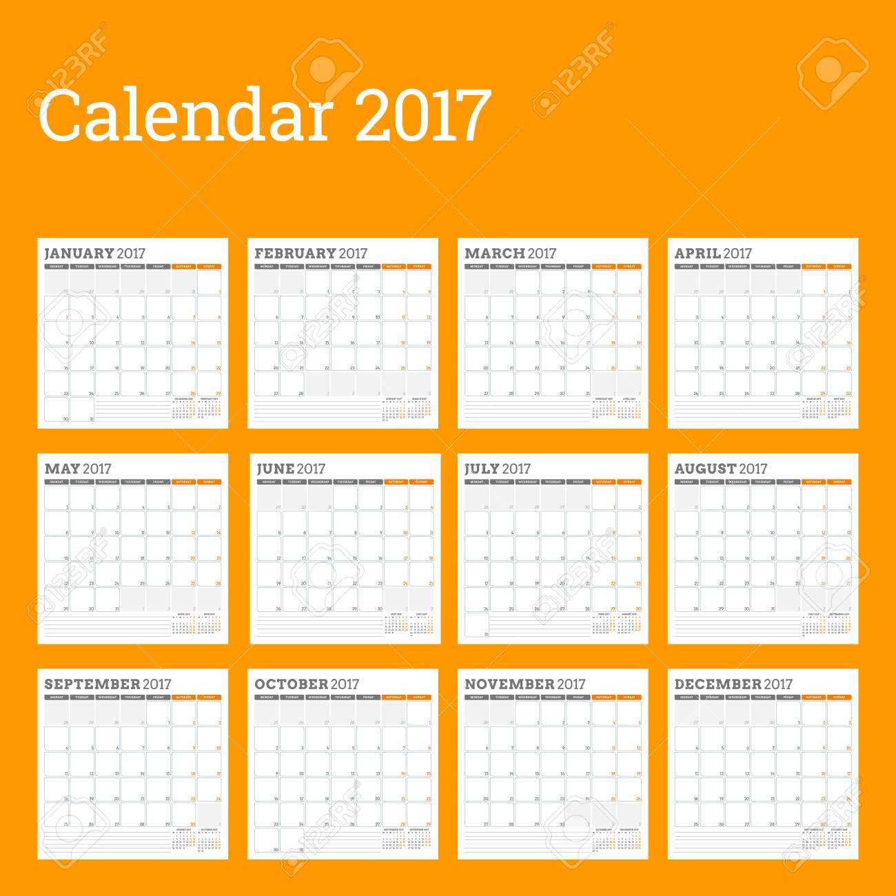 Calendario 12 Mesi.Calendario Planner Template Per L Anno 2017 La Settimana Inizia Lunedi Set Di 12 Mesi Design Di Cancelleria Modello Di Calendario