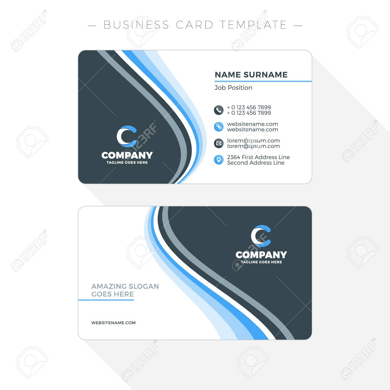 double sided business card template with abstract blue and black