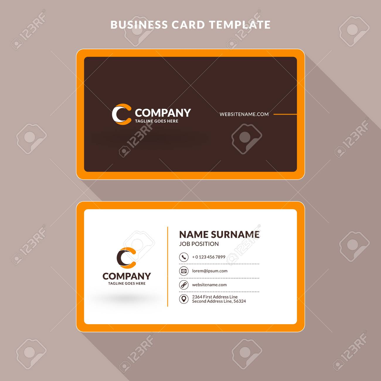 Creative and clean double sided business card template orange creative and clean double sided business card template orange and brown colors flat cheaphphosting Images
