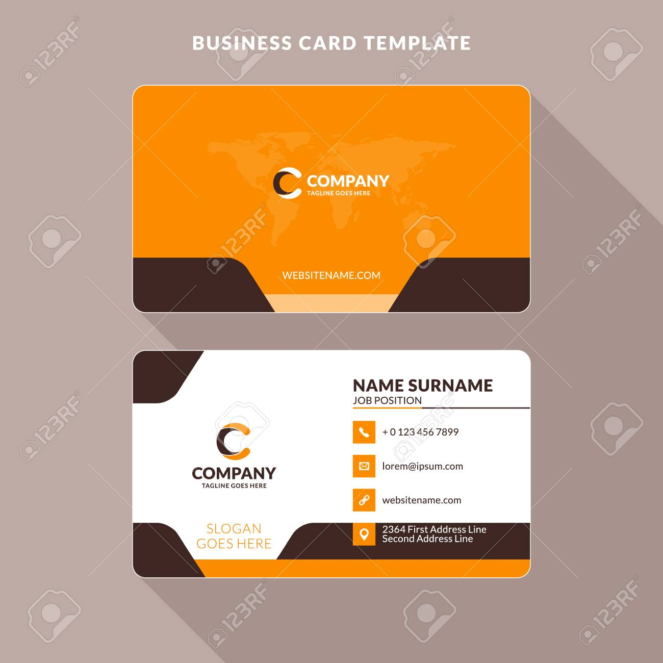 Creative and clean double sided business card template orange and creative and clean double sided business card template orange and brown colors flat reheart Images