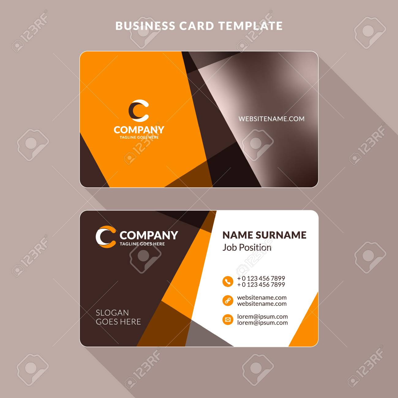 Creative And Clean Double-sided Business Card Template. Orange ...