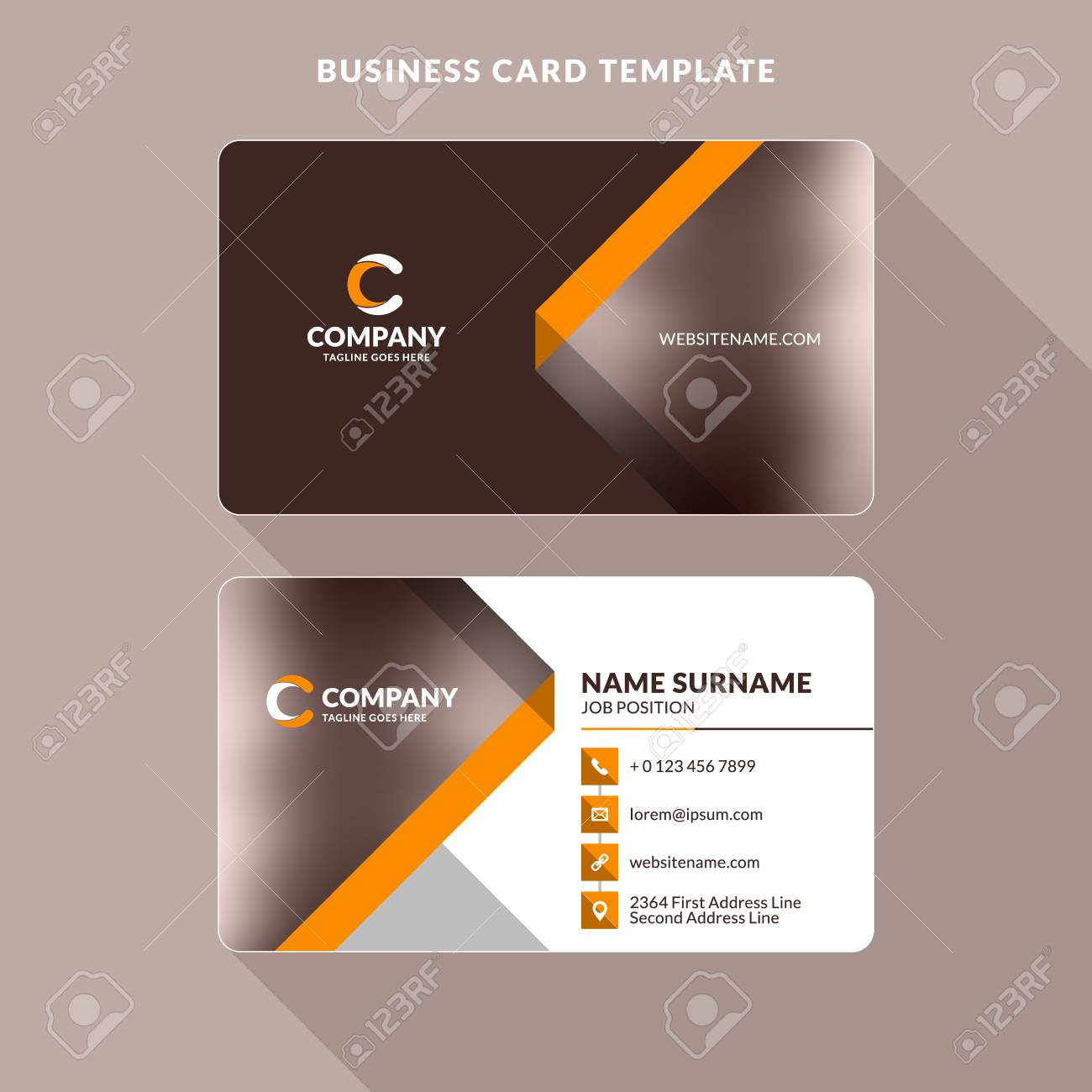 Creative And Clean Doublesided Business Card Template Orange - Two sided business card template