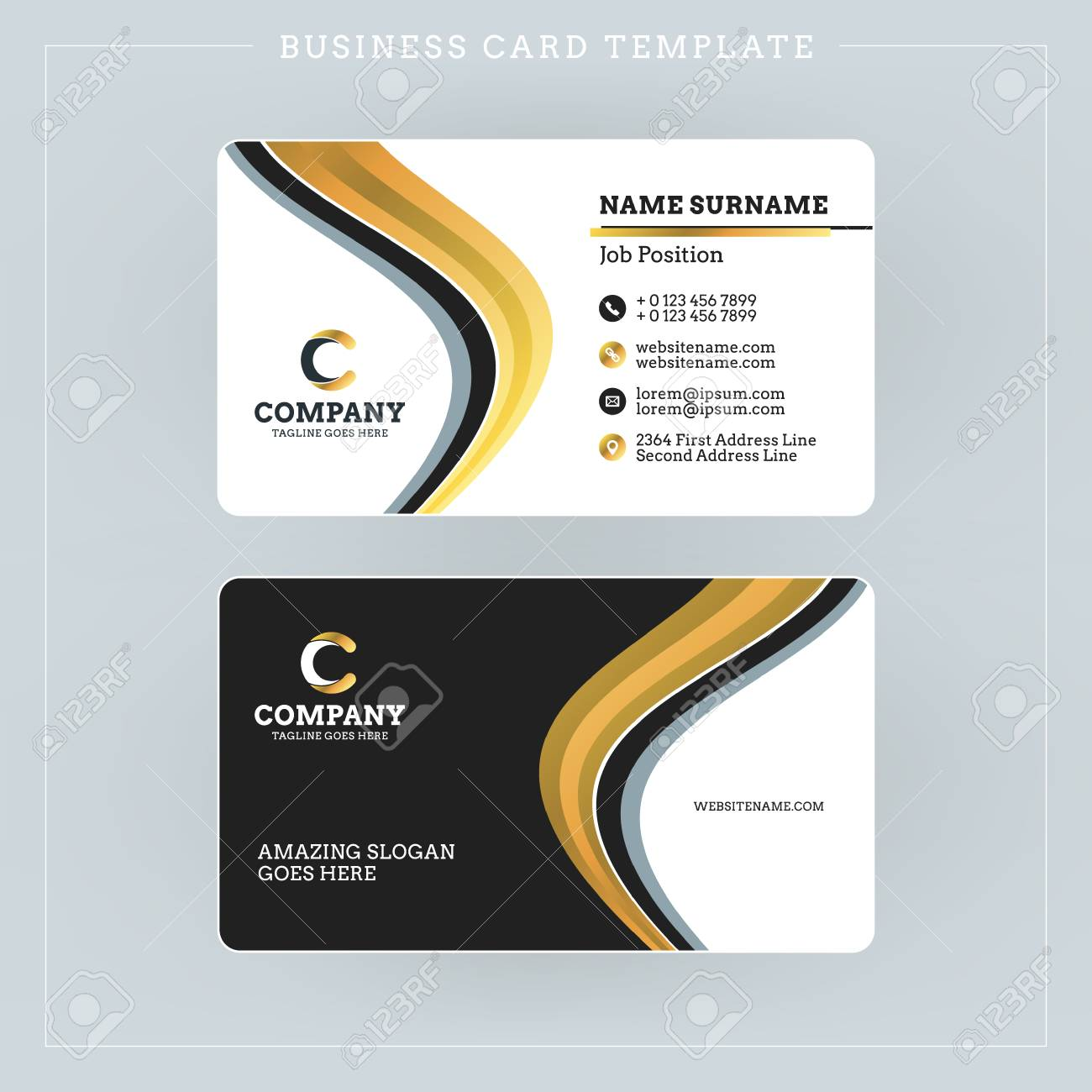 Double sided business card template with abstract golden and double sided business card template with abstract golden and black waves background vector illustration reheart Choice Image