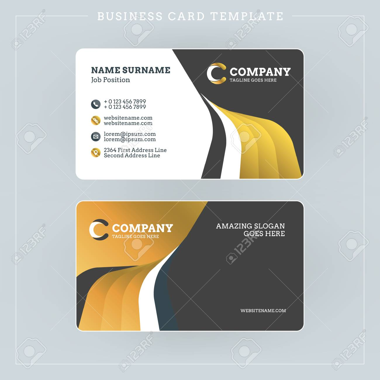 Doublesided Business Card Template With Abstract Golden And - Double sided business card template