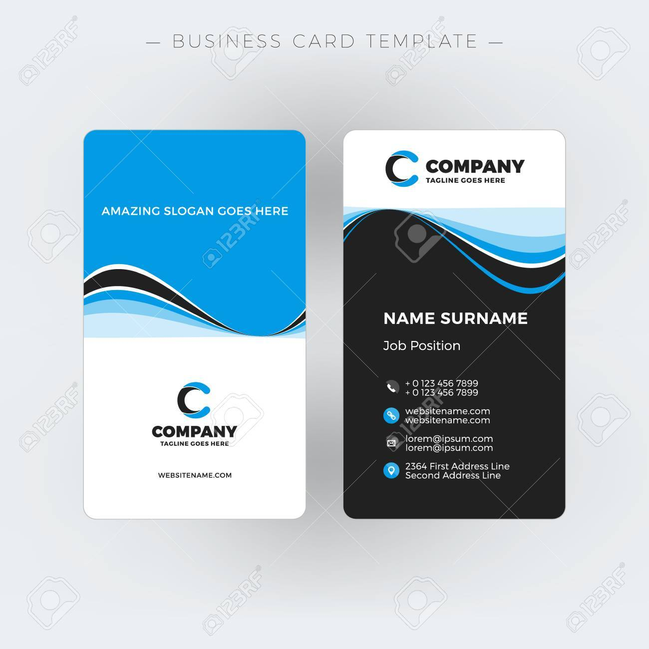 Vertical Doublesided Business Card Template Vector Illustration - Double sided business card template