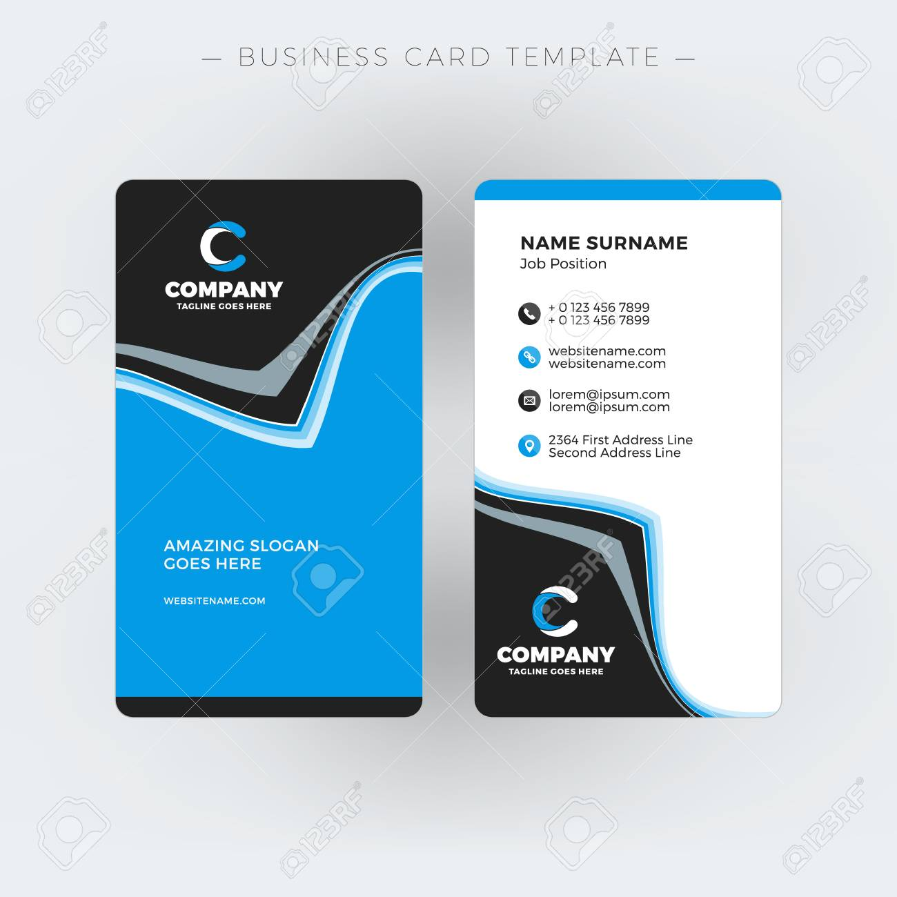 Vertical Double Sided Business Card Template Vector Illustration