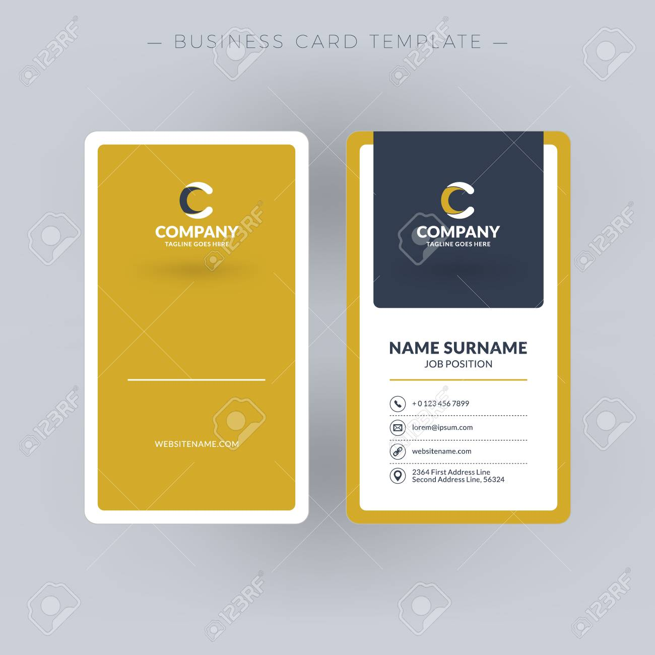 Vertical double sided business card template vector illustration vertical double sided business card template vector illustration stationery design stock vector flashek Images