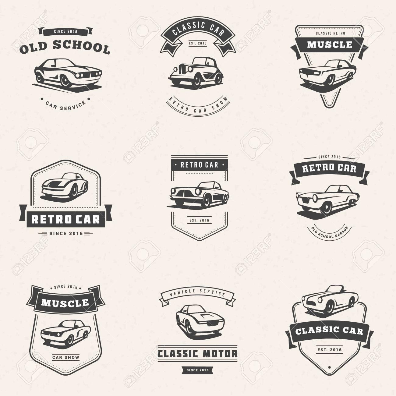 Set Of Classic Car Logo Emblems Badges Service Car Repair