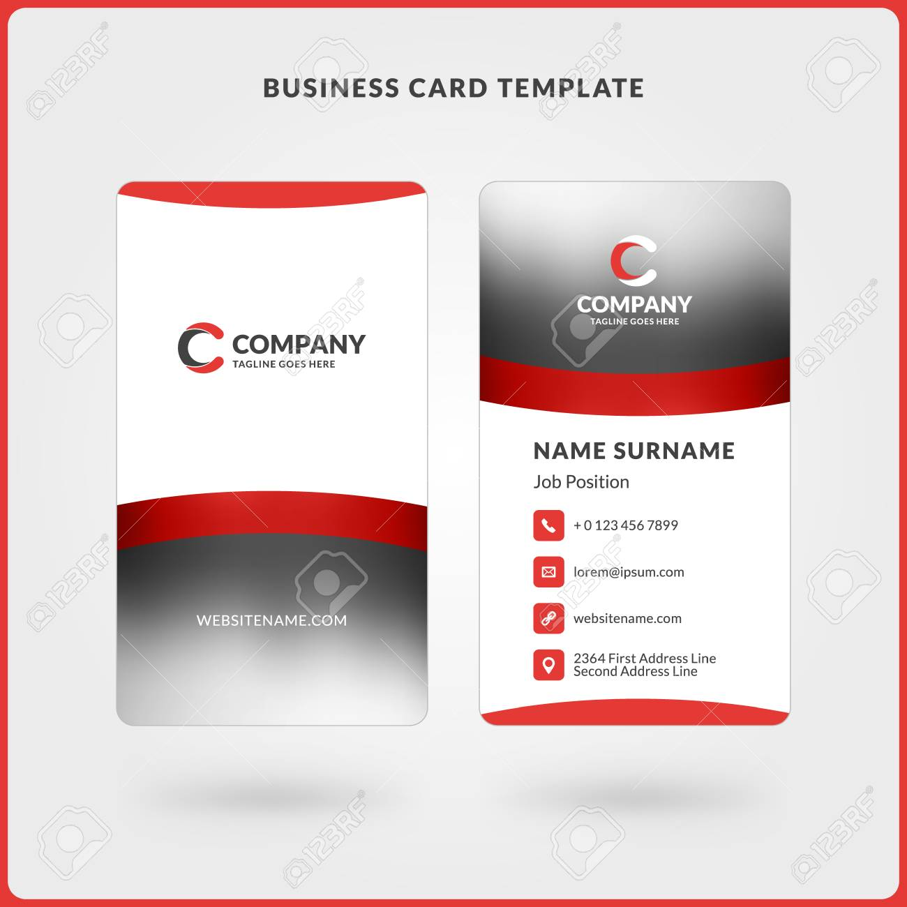 Vertical Double-sided Business Card Template. Red And Black Colors ...