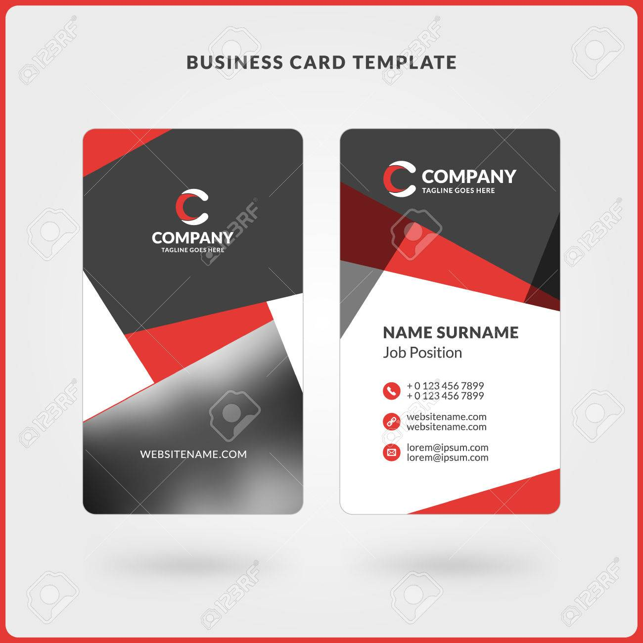 vertical double sided business card template red and black colors