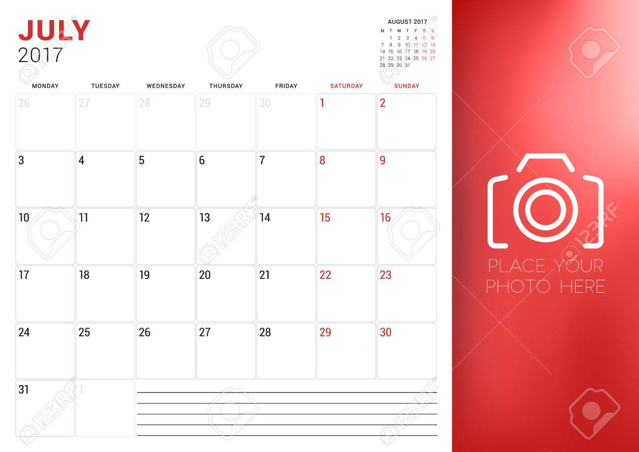 Calendar Planner Template for July 2017  Week Starts Monday