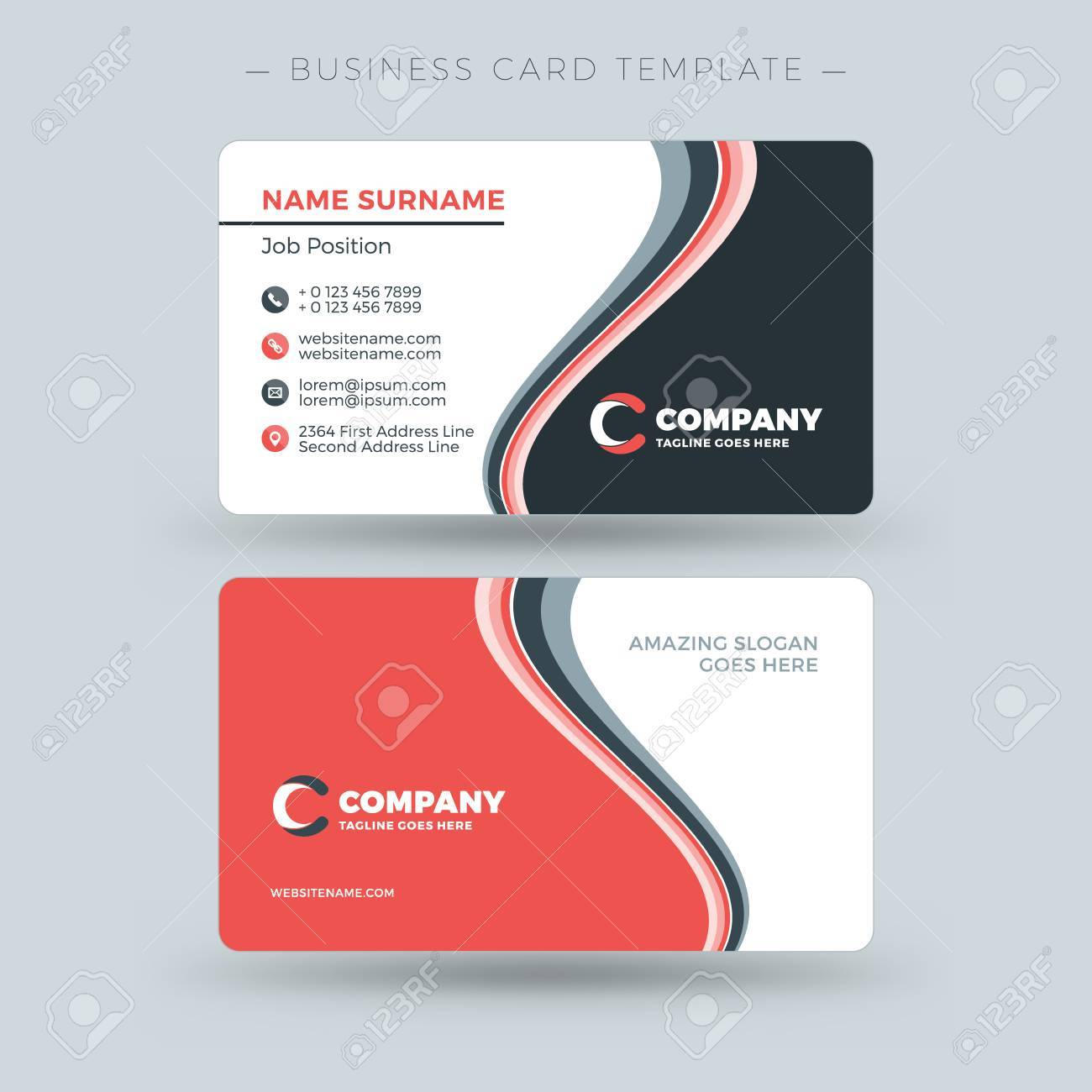 double sided business card template with abstract red and black
