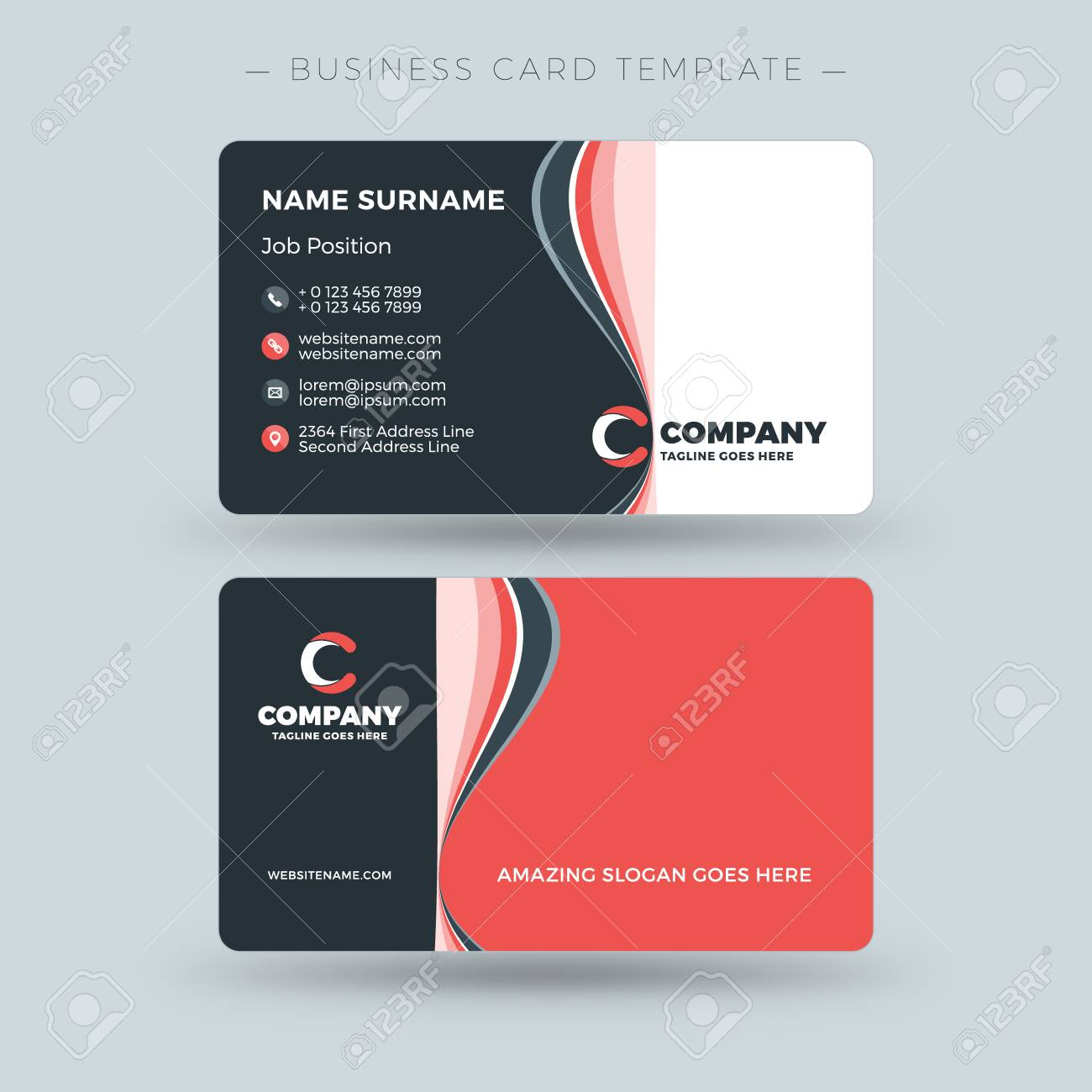 Double sided business card template with abstract red and black double sided business card template with abstract red and black waves background vector illustration cheaphphosting Gallery