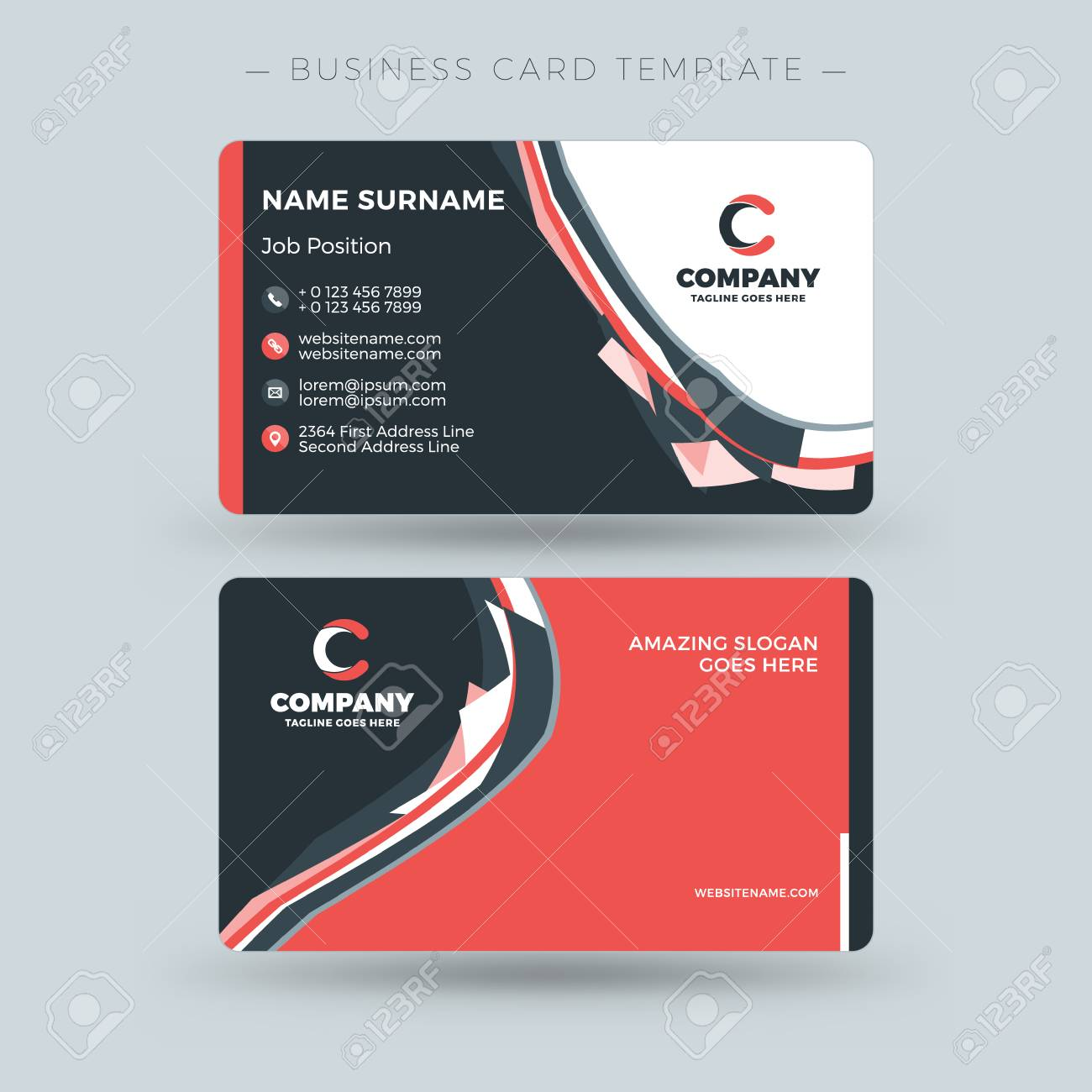 Double sided business card template with abstract red and black double sided business card template with abstract red and black waves background vector illustration fbccfo Choice Image