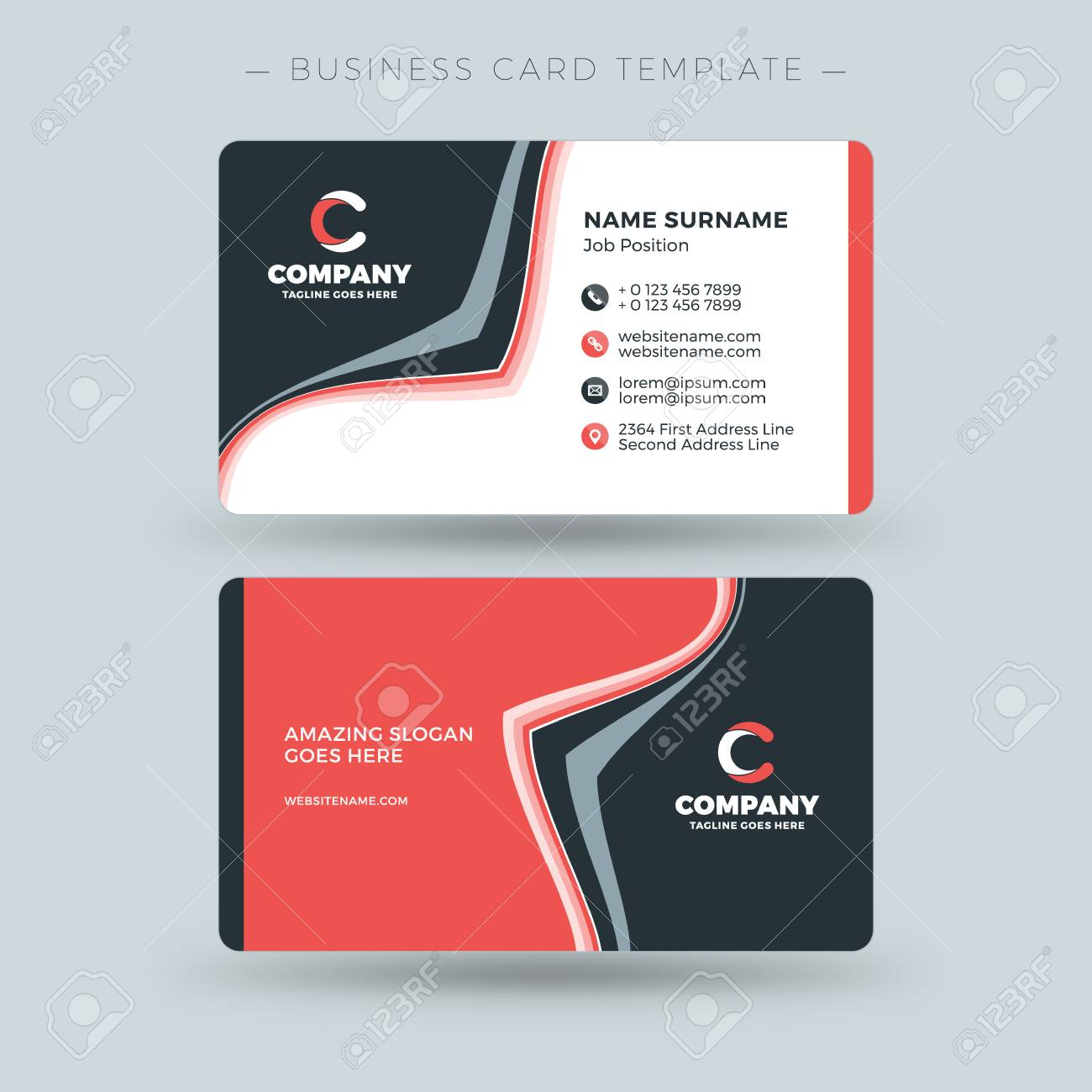 Double sided business card template with abstract red and black double sided business card template with abstract red and black waves background vector illustration flashek Gallery