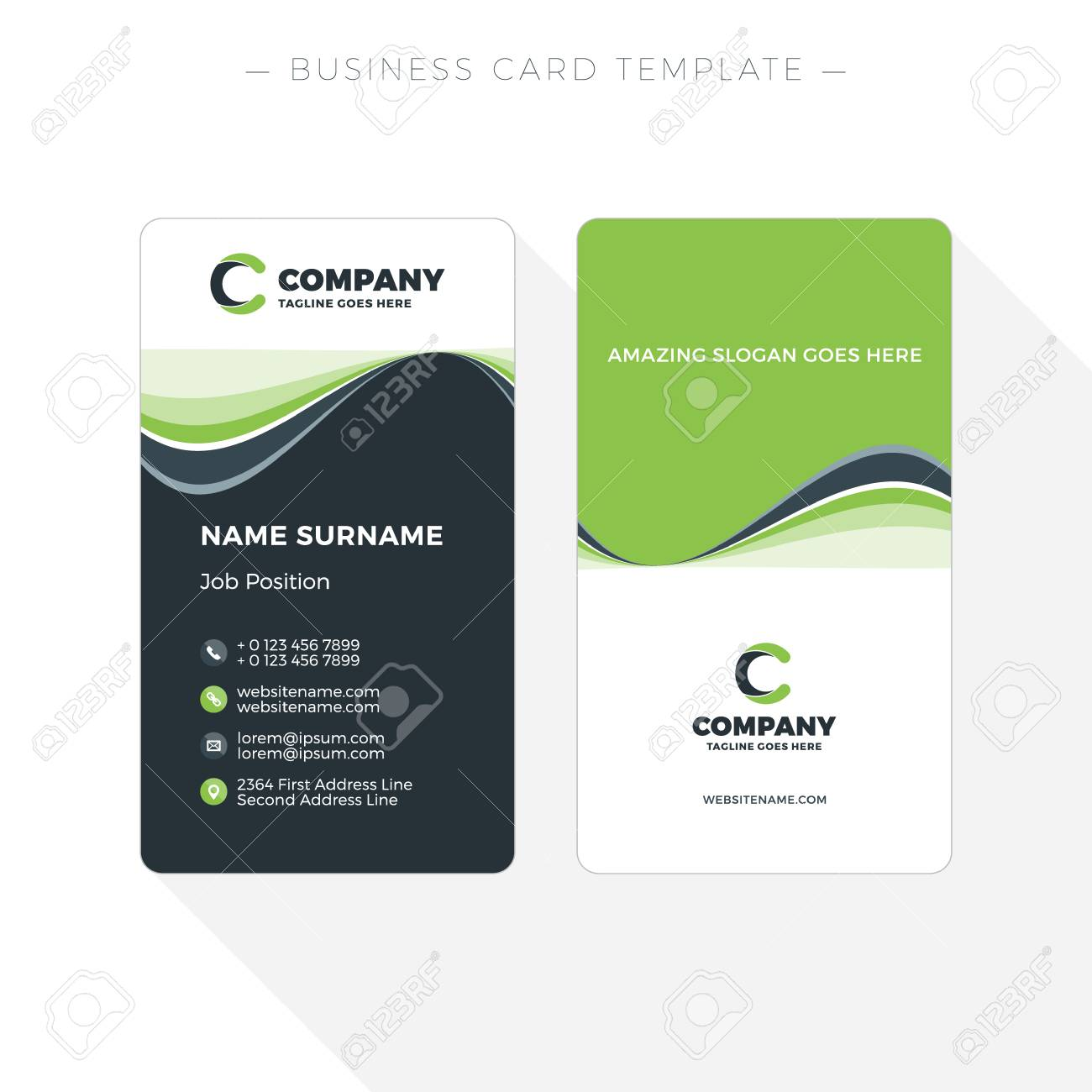 Vertical double sided business card template with abstract green vector vertical double sided business card template with abstract green and black waves background vector illustration stationery design flashek Gallery