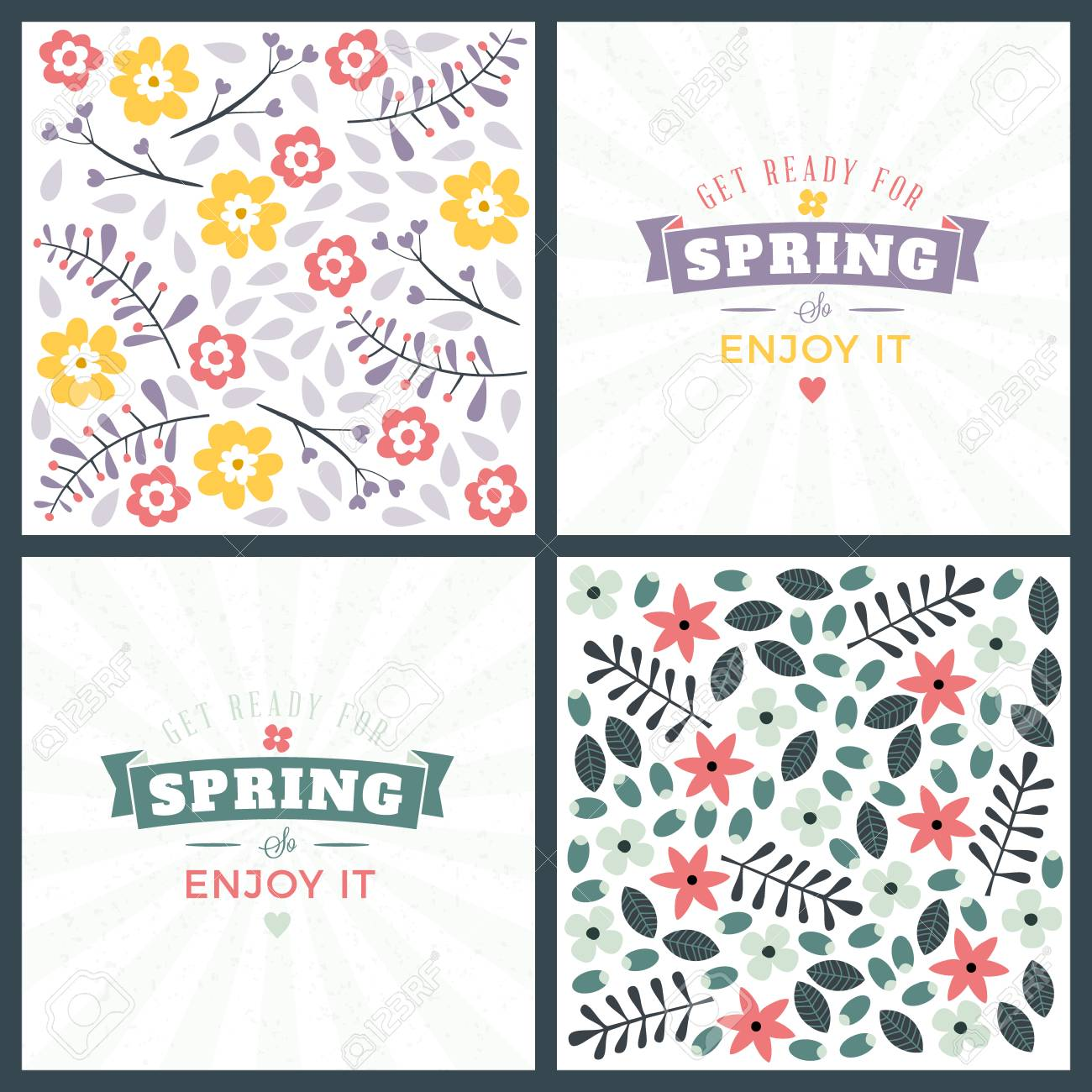 Spring Holiday Greeting Card Design Vector Floral Greetings