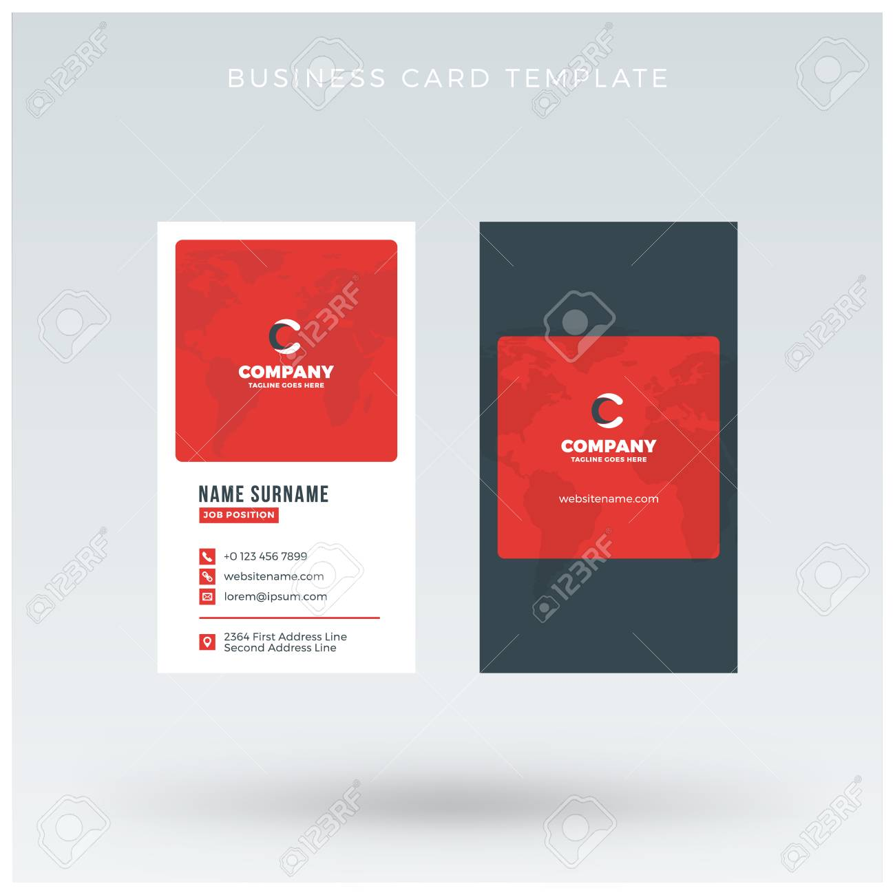 Modern creative vertical red business card template flat design modern creative vertical red business card template flat design vector illustration stationery design stock cheaphphosting Image collections