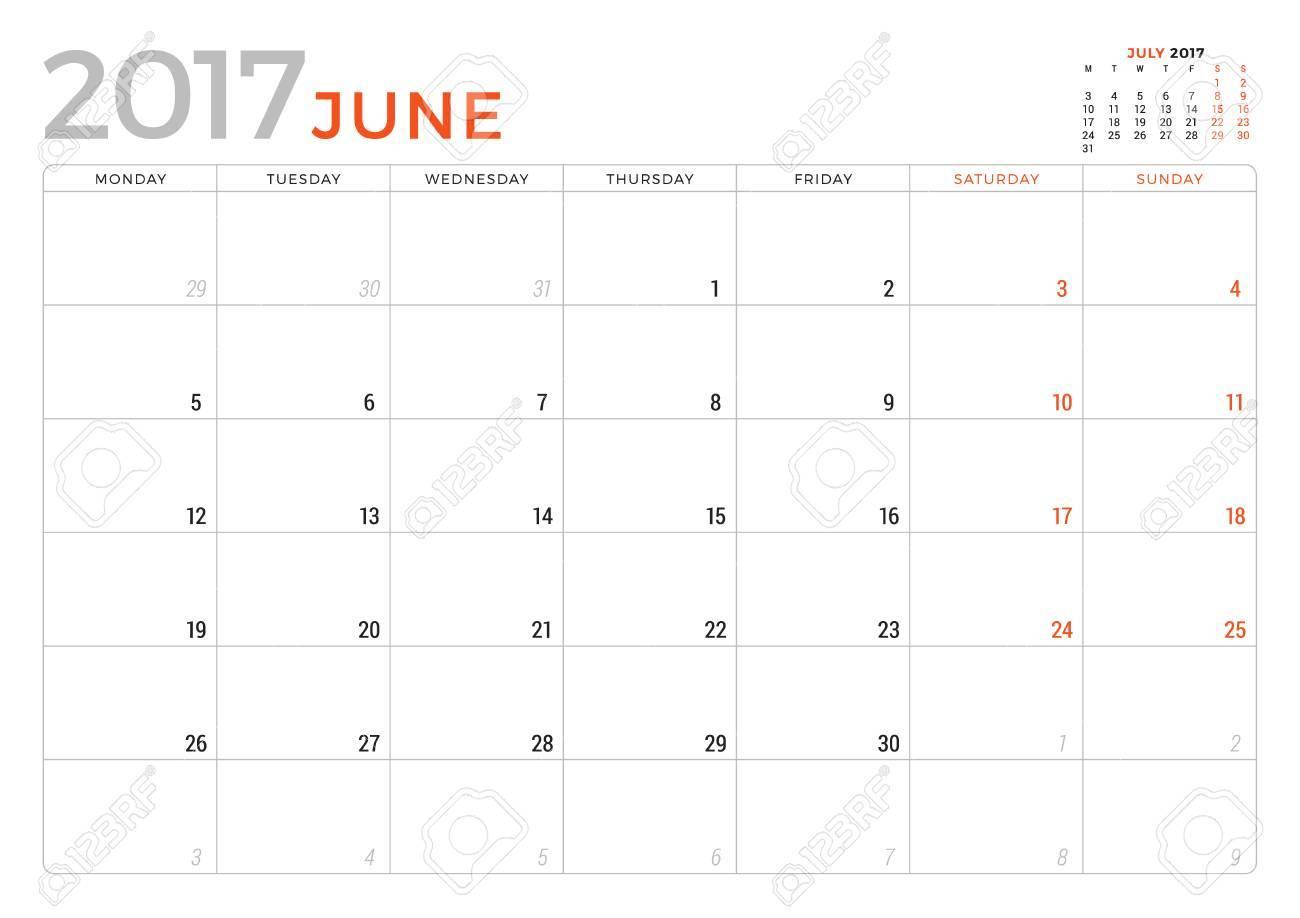 calendar planner for june 2017 year vector design template